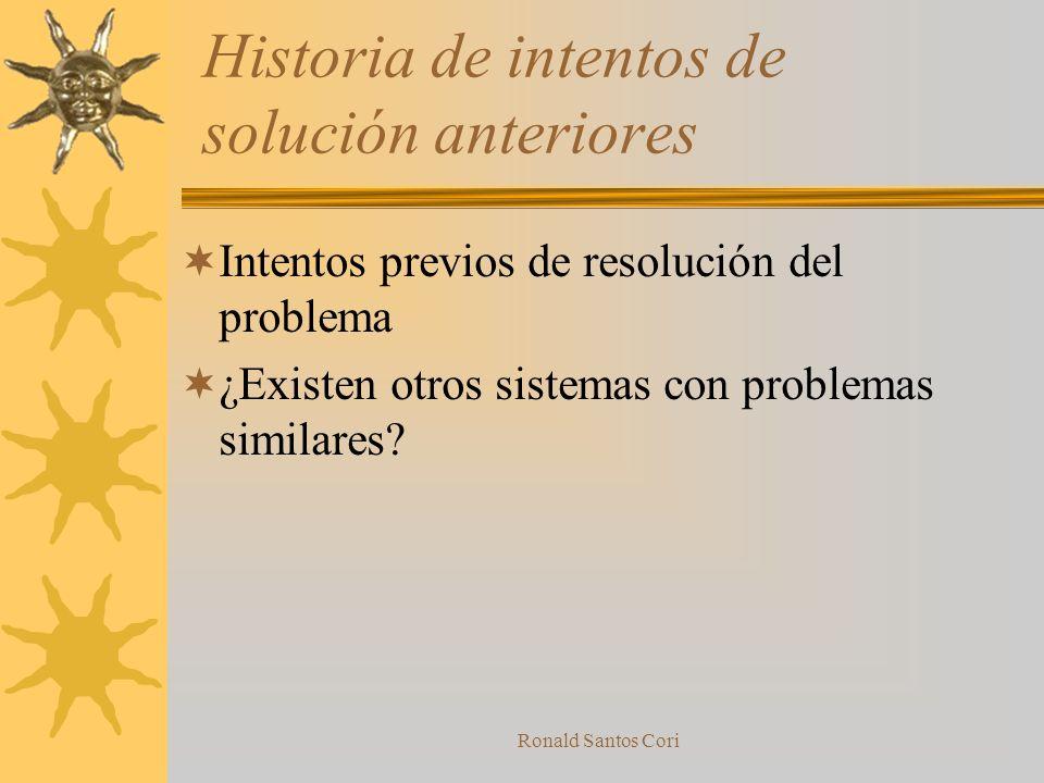 Ronald Santos Cori Criterio para seleccionar conceptos de solución Caracterìsticas tecnològicas deseadas Caracterìsticas econòmicas deseadas Tabla de