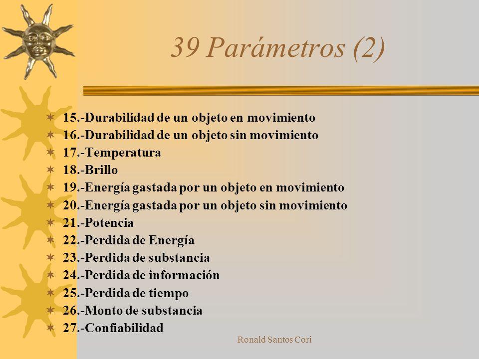 Ronald Santos Cori 39 Parámetros (1) 1.-Peso de un objeto en Movimiento 2.-Peso de un objeto sin Movimiento 3.-Largo de un objeto en Movimiento 4.-Lar