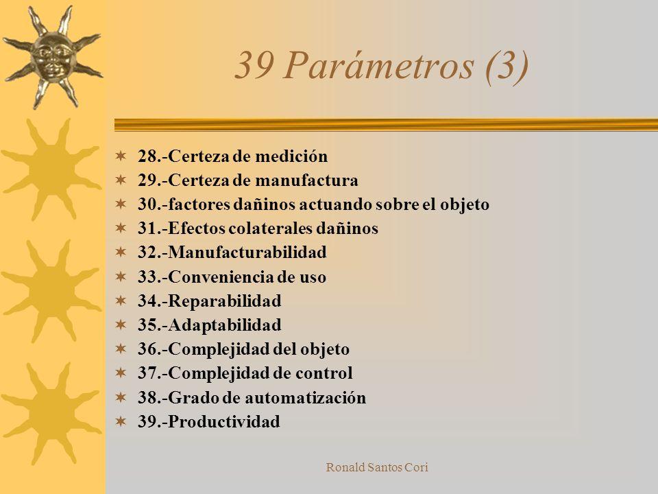Ronald Santos Cori 39 Parámetros (2) 15.-Durabilidad de un objeto en movimiento 16.-Durabilidad de un objeto sin movimiento 17.-Temperatura 18.-Brillo
