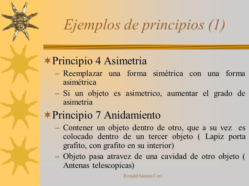 Ronald Santos Cori 40 principios (1) 1.-Segmentación 2.-Extracción 3.-Calidad Local 4.-Asimetria 5.-Combinación 6.-Universalidad 7.-Anidamiento 8.-Con