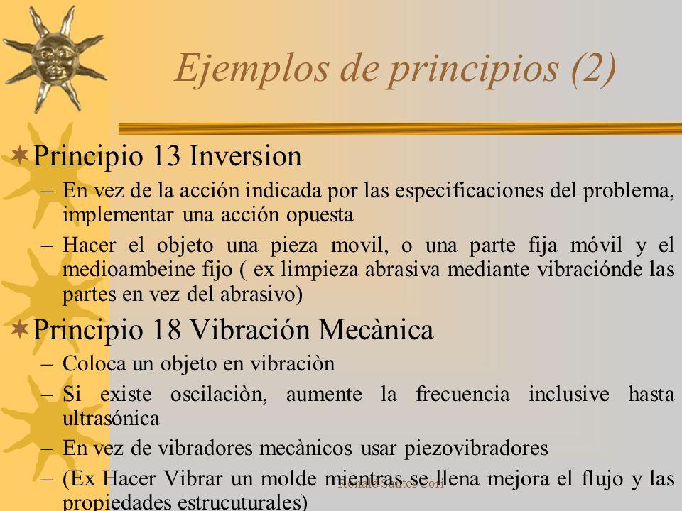 Ronald Santos Cori 40 principios (2) 11.-Ablandar por anticipado 12.-Equi-potencialidad 13.- Inversion 14.-Esferoidalidad 15.-Dinamicidad 16.-Acción P