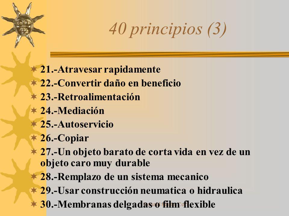 Ronald Santos Cori Ejemplos de principios (2) Principio 13 Inversion –En vez de la acción indicada por las especificaciones del problema, implementar