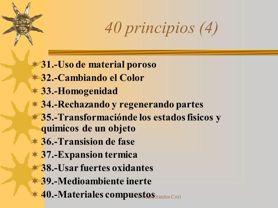 Ronald Santos Cori Ejemplos de principios (3) Principio 21 Atravesar Rapidamente –Realizar una operación dañina o peligrosa a alta velocidad o rapidez