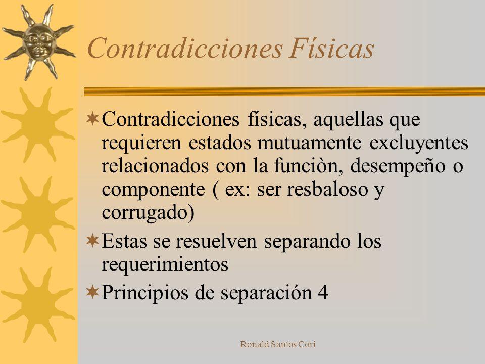 Ronald Santos Cori Contradicciones Tecnicas Una contradicciòn tècnica se presenta cuando, alternativas disponibles para mejorar un aspecto desmejoran