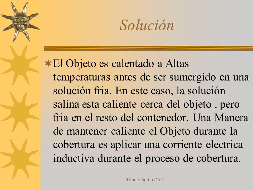 Ronald Santos Cori Contradicción La solución se hace visible cuando refraseamos el problema. El proceso debe ser a altas temperaturas para ser una cob