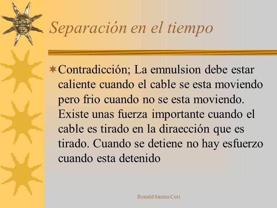 Ronald Santos Cori Separación en el Tienpo Separa los objetos en el tiempo haciendo los procesos contradictorios en diferentes momentos Ejemplo: –Un c