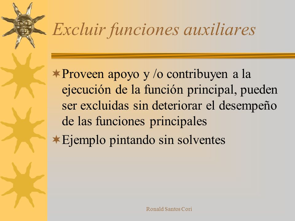 Ronald Santos Cori Seis pasos para la Idealidad Excluir funciones auxiliares Excluir elementos Identificar autoservicios Remplazar elementos, partes o