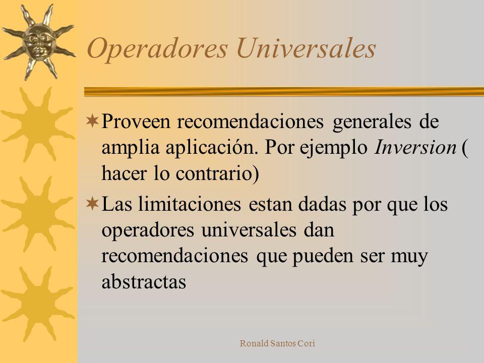 Ronald Santos Cori Sistema de Operadores Operadores de terminados por su universalidad son; Universales, Generales, Especializados