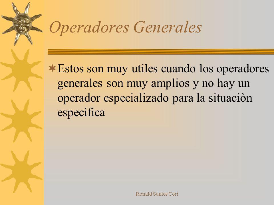 Ronald Santos Cori Operadores Especializados Colaboran a mejorar parametros de productos o procesos especificos, tales como peso, perdida de energia,