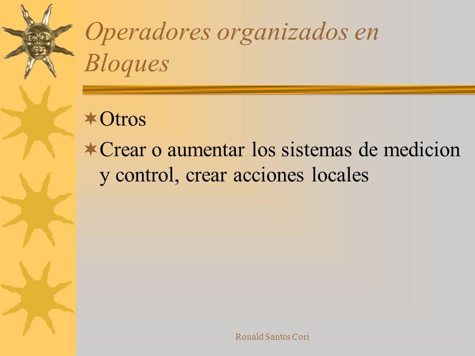 Ronald Santos Cori Operadores organizados en Bloques Eliminaciòn o reduccion de acciones dañinas Deflecciòn, desplazamiento, shock, vibraciòn, destruc