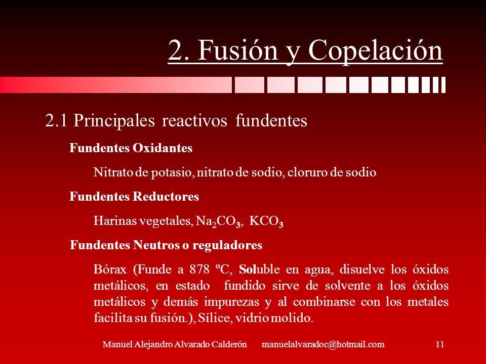 2. Fusión y Copelación Manuel Alejandro Alvarado Calderón manuelalvaradoc@hotmail.com 2.1 Principales reactivos fundentes Fundentes Oxidantes Nitrato