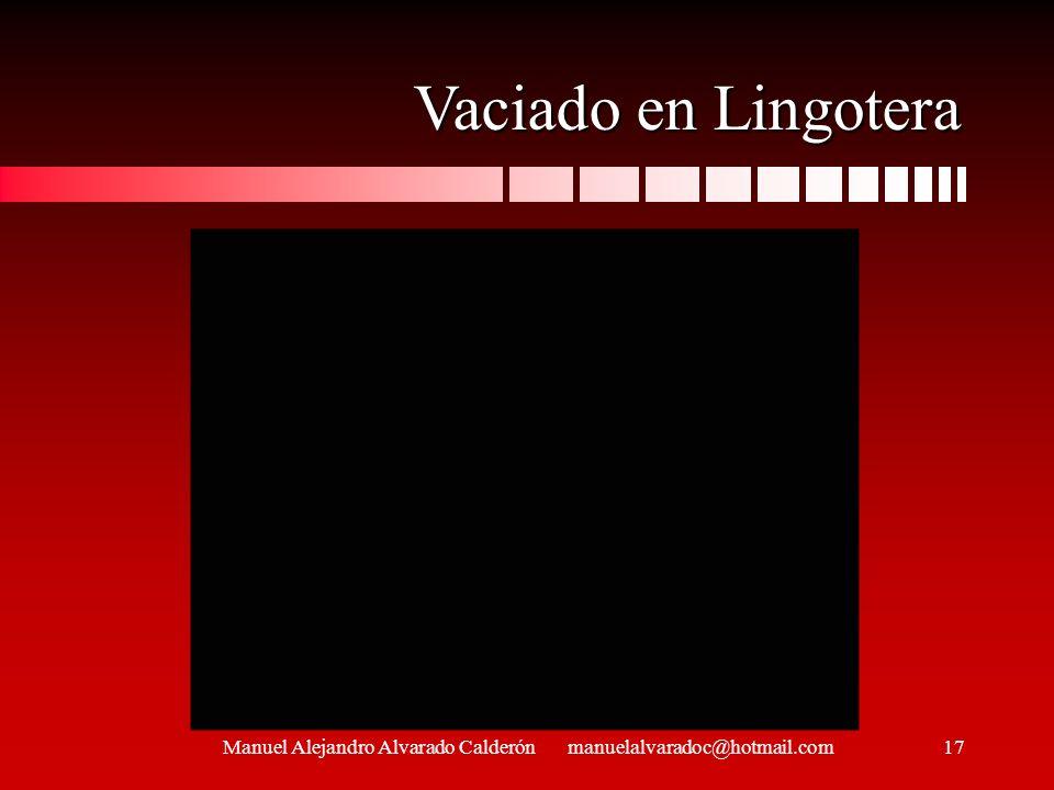 Manuel Alejandro Alvarado Calderón manuelalvaradoc@hotmail.com Vaciado en Lingotera 17