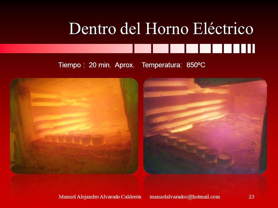 Dentro del Horno Eléctrico Manuel Alejandro Alvarado Calderón manuelalvaradoc@hotmail.com Tiempo : 20 min. Aprox. Temperatura: 850ºC 23