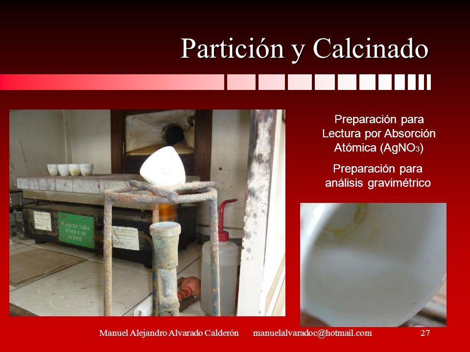 Partición y Calcinado Manuel Alejandro Alvarado Calderón manuelalvaradoc@hotmail.com Preparación para Lectura por Absorción Atómica (AgNO 3 ) Preparac