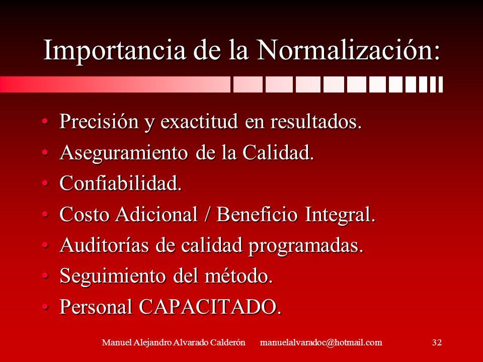 Importancia de la Normalización: Precisión y exactitud en resultados.Precisión y exactitud en resultados. Aseguramiento de la Calidad.Aseguramiento de