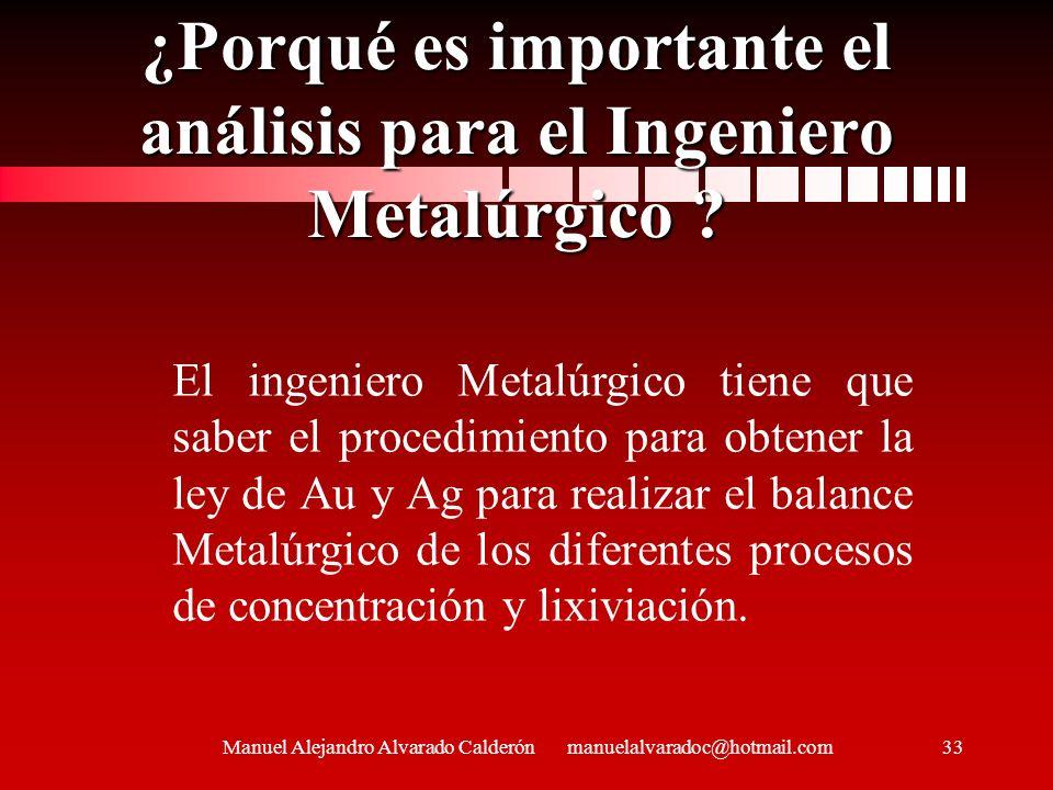 ¿Porqué es importante el análisis para el Ingeniero Metalúrgico ? Manuel Alejandro Alvarado Calderón manuelalvaradoc@hotmail.com33 El ingeniero Metalú