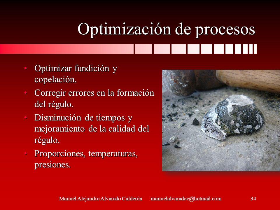 Optimización de procesos Optimizar fundición y copelación.Optimizar fundición y copelación. Corregir errores en la formación del régulo.Corregir error