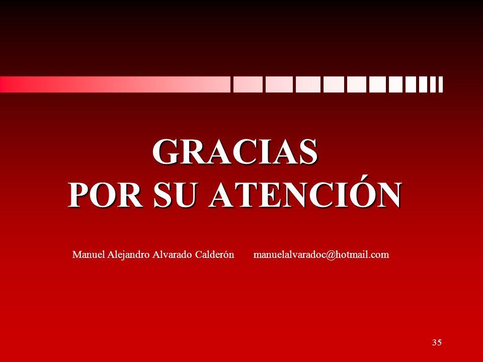 GRACIAS POR SU ATENCIÓN Manuel Alejandro Alvarado Calderón manuelalvaradoc@hotmail.com 35