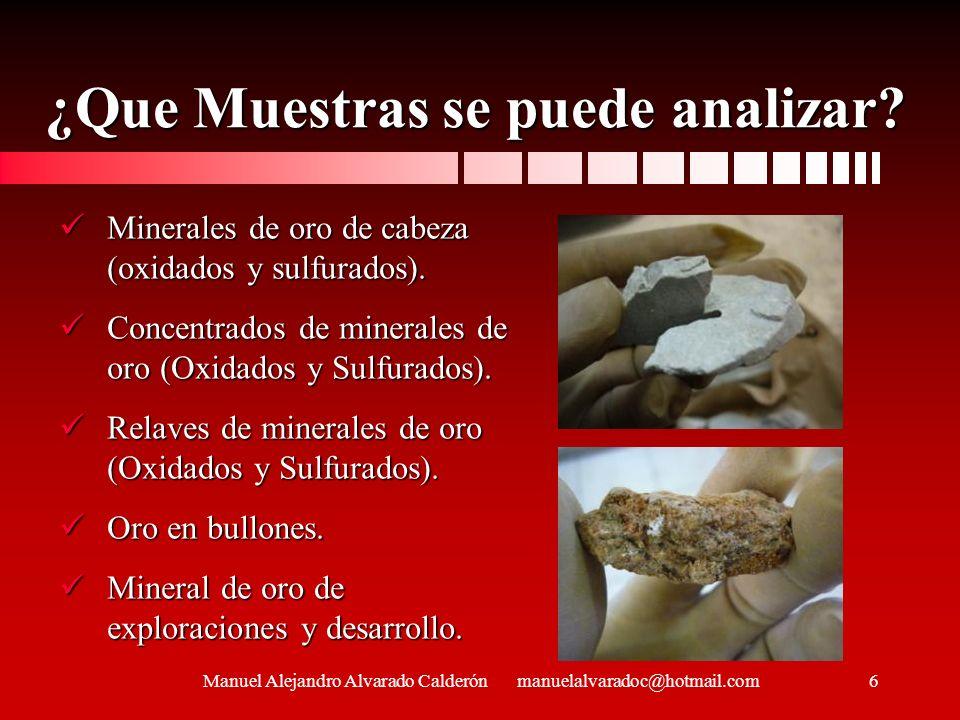 ¿Que Muestras se puede analizar? Minerales de oro de cabeza (oxidados y sulfurados). Minerales de oro de cabeza (oxidados y sulfurados). Concentrados