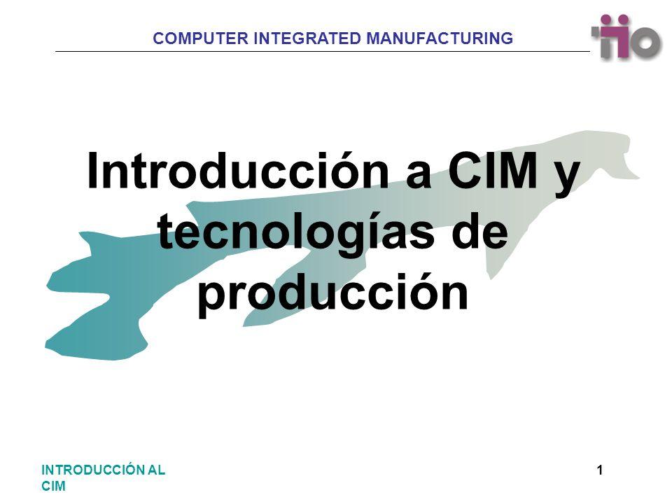 COMPUTER INTEGRATED MANUFACTURING 2INTRODUCCIÓN AL CIM Introducción a los procesos productivos Consideraciones iniciales Concepto Rentabilidad Normalización Nuevas tecnologías INDICE