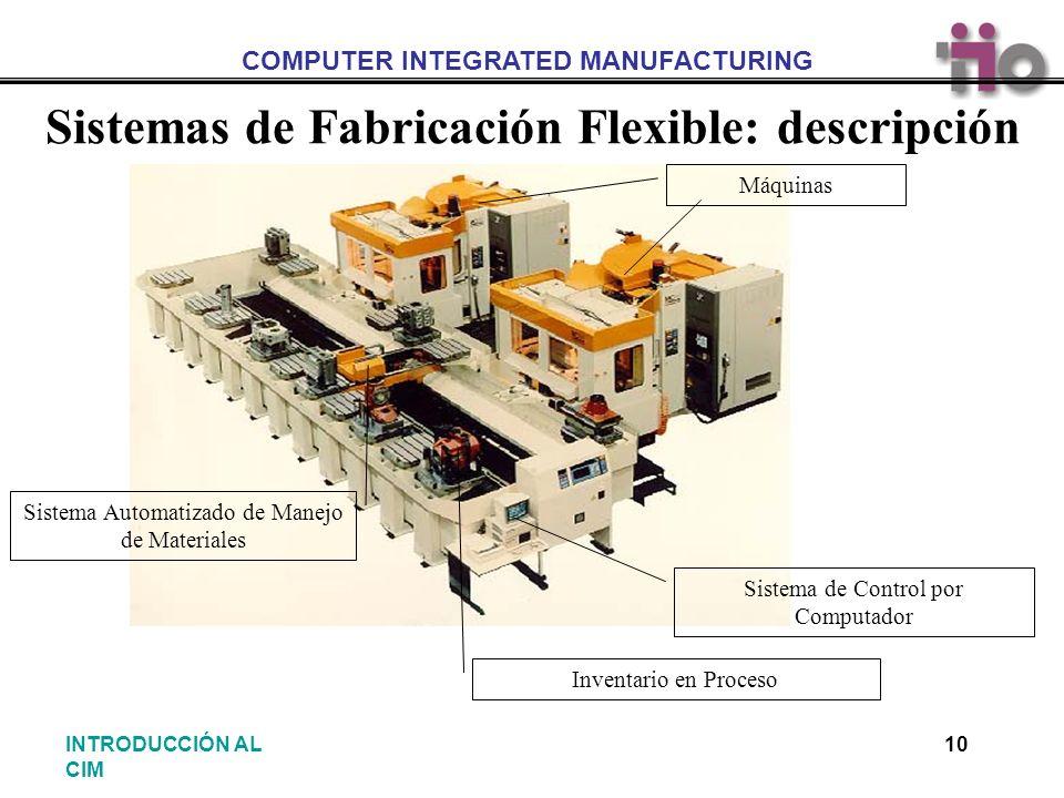 COMPUTER INTEGRATED MANUFACTURING 10INTRODUCCIÓN AL CIM Sistemas de Fabricación Flexible: descripción Sistema de Control por Computador Máquinas Inven