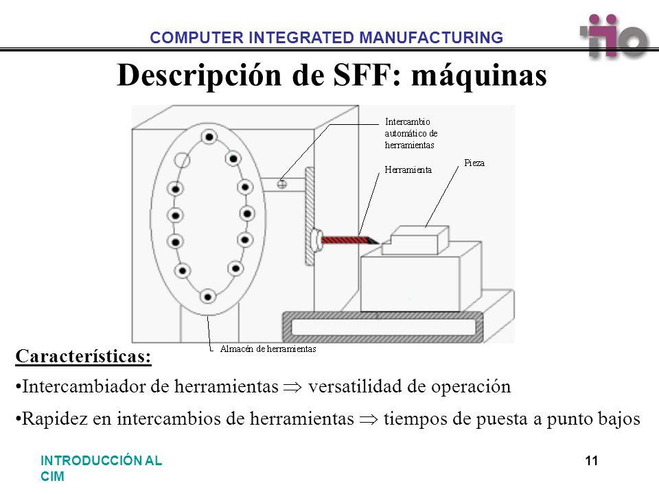 COMPUTER INTEGRATED MANUFACTURING 11INTRODUCCIÓN AL CIM Descripción de SFF: máquinas Características: Intercambiador de herramientas versatilidad de o