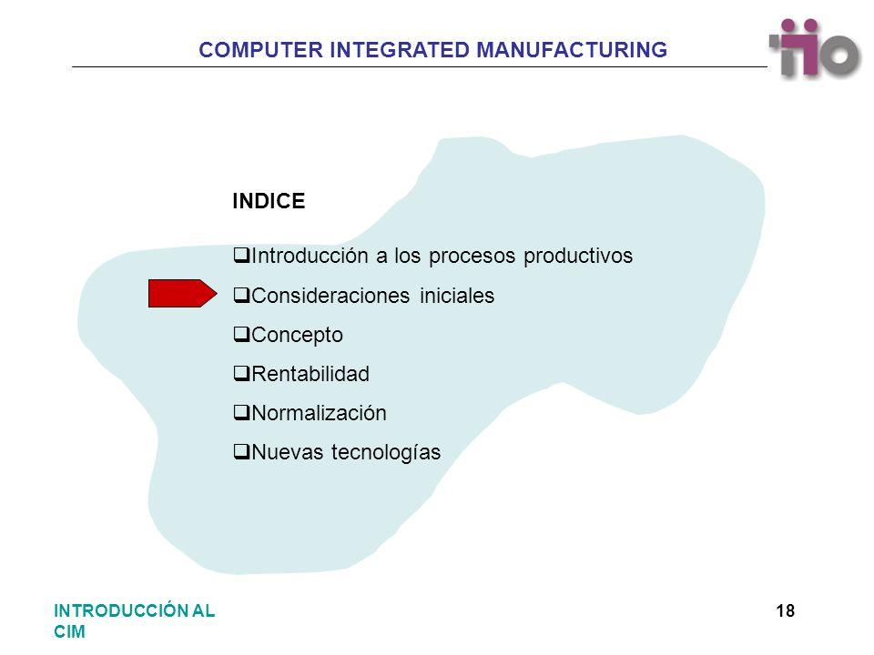 COMPUTER INTEGRATED MANUFACTURING 18INTRODUCCIÓN AL CIM Introducción a los procesos productivos Consideraciones iniciales Concepto Rentabilidad Normal