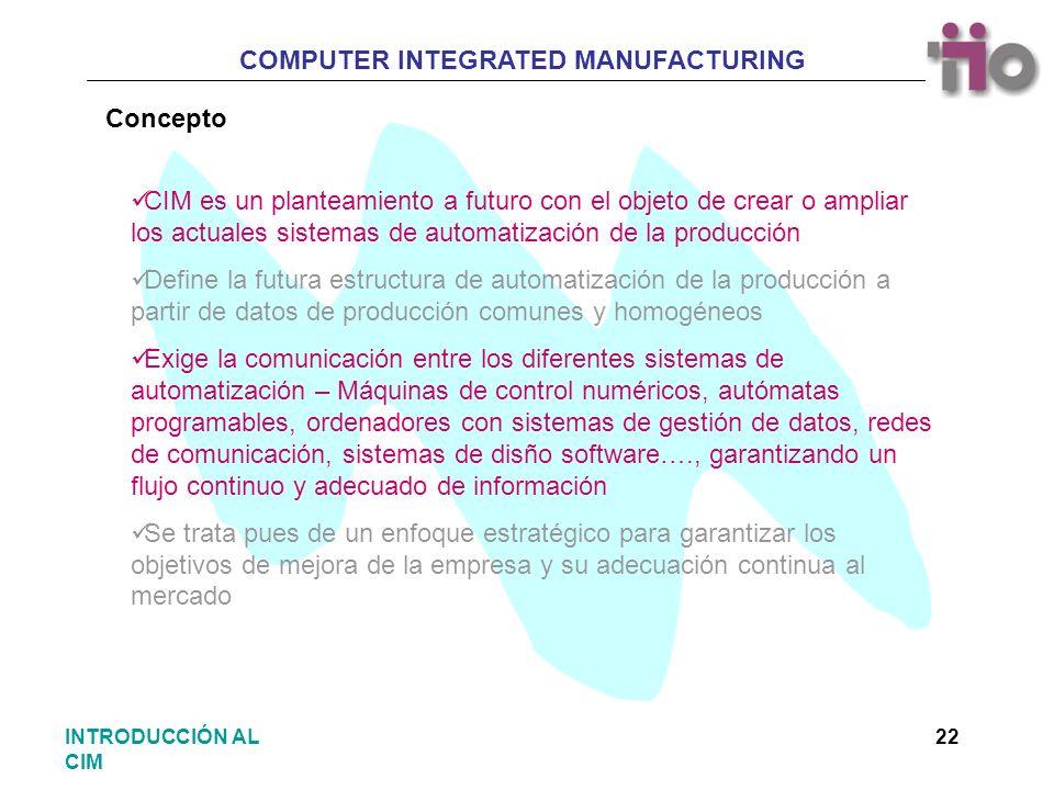 COMPUTER INTEGRATED MANUFACTURING 22INTRODUCCIÓN AL CIM Concepto CIM es un planteamiento a futuro con el objeto de crear o ampliar los actuales sistem