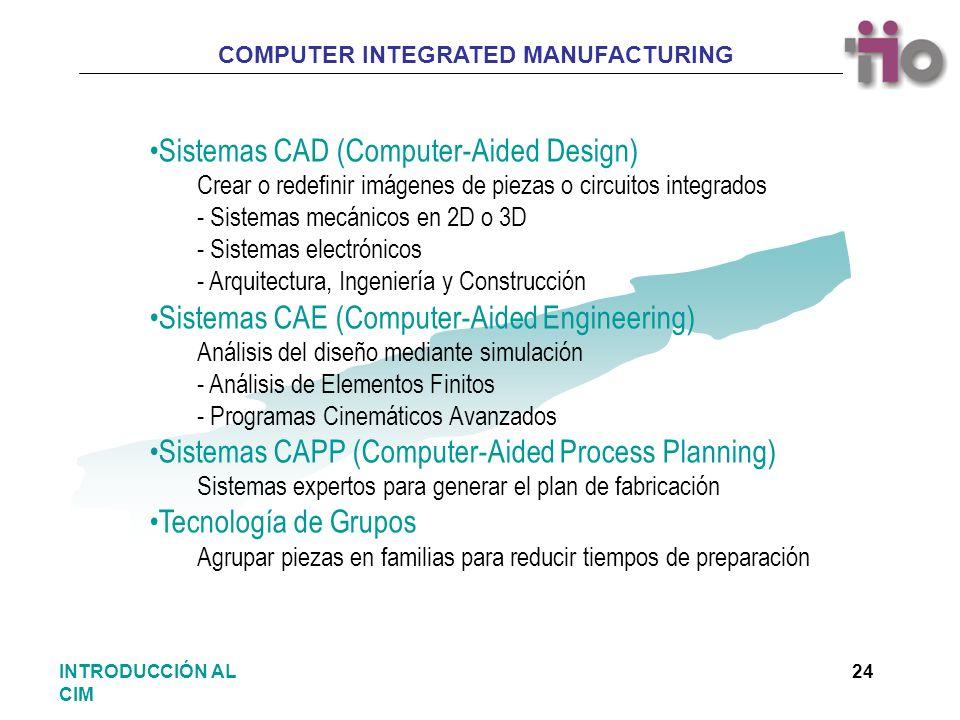 COMPUTER INTEGRATED MANUFACTURING 24INTRODUCCIÓN AL CIM Sistemas CAD (Computer-Aided Design) Crear o redefinir imágenes de piezas o circuitos integrad
