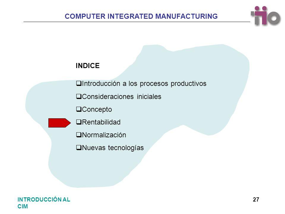 COMPUTER INTEGRATED MANUFACTURING 27INTRODUCCIÓN AL CIM Introducción a los procesos productivos Consideraciones iniciales Concepto Rentabilidad Normal