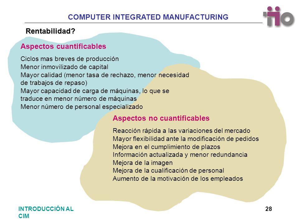 COMPUTER INTEGRATED MANUFACTURING 28INTRODUCCIÓN AL CIM Rentabilidad? Aspectos cuantificables Ciclos mas breves de producción Menor inmovilizado de ca