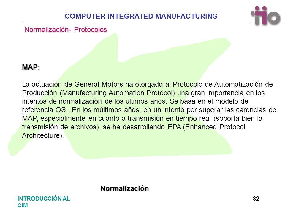 COMPUTER INTEGRATED MANUFACTURING 32INTRODUCCIÓN AL CIM MAP: La actuación de General Motors ha otorgado al Protocolo de Automatización de Producción (