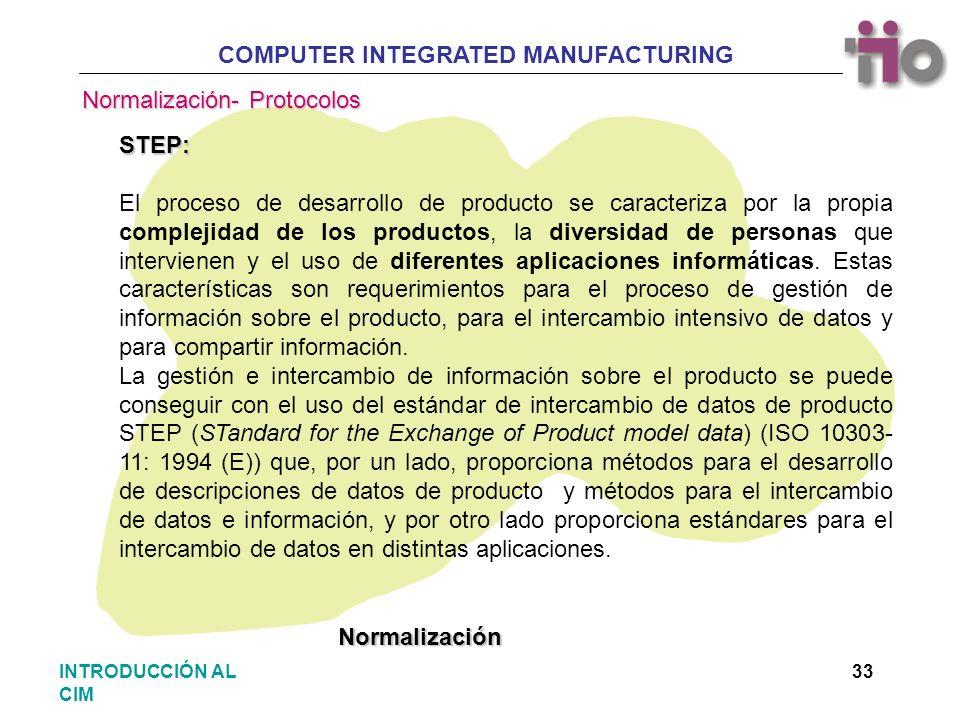 COMPUTER INTEGRATED MANUFACTURING 33INTRODUCCIÓN AL CIM STEP: El proceso de desarrollo de producto se caracteriza por la propia complejidad de los pro