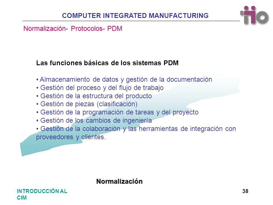 COMPUTER INTEGRATED MANUFACTURING 38INTRODUCCIÓN AL CIM Las funciones básicas de los sistemas PDM Almacenamiento de datos y gestión de la documentació