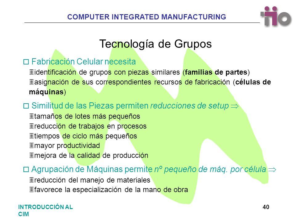 COMPUTER INTEGRATED MANUFACTURING 40INTRODUCCIÓN AL CIM Tecnología de Grupos o Fabricación Celular necesita 3identificación de grupos con piezas simil
