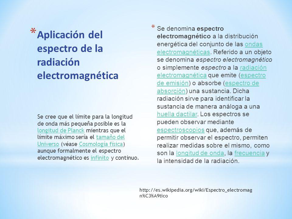 * Aplicación del espectro de la radiación electromagnética * Se denomina espectro electromagnético a la distribución energética del conjunto de las on