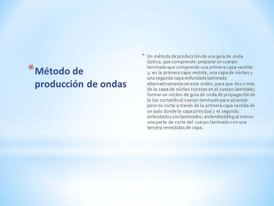 * Método de producción de ondas * Un método de producción de una guía de onda óptica, que comprende: preparar un cuerpo laminado que comprende una pri