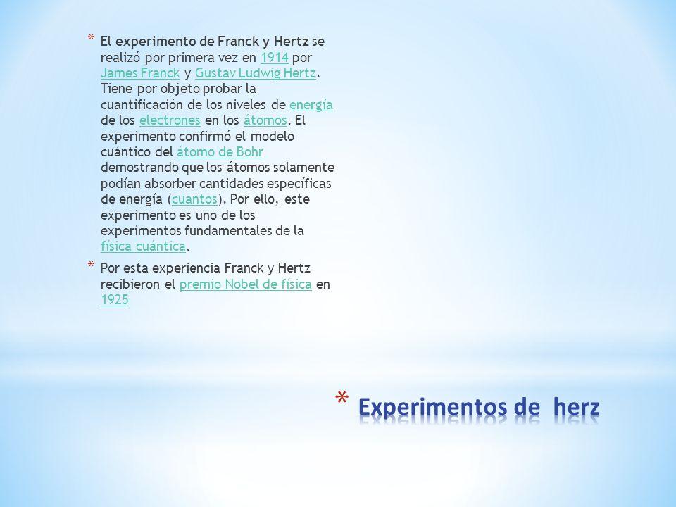 * El experimento de Franck y Hertz se realizó por primera vez en 1914 por James Franck y Gustav Ludwig Hertz. Tiene por objeto probar la cuantificació