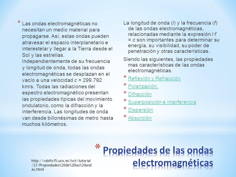 * Las ondas electromagnéticas no necesitan un medio material para propagarse. Así, estas ondas pueden atravesar el espacio interplanetario e intereste