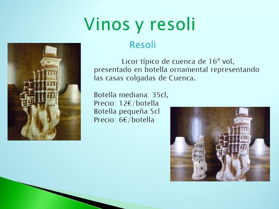 Resoli Licor típico de cuenca de 16º vol, presentado en botella ornamental representando las casas colgadas de Cuenca. Botella mediana: 35cl, Precio: