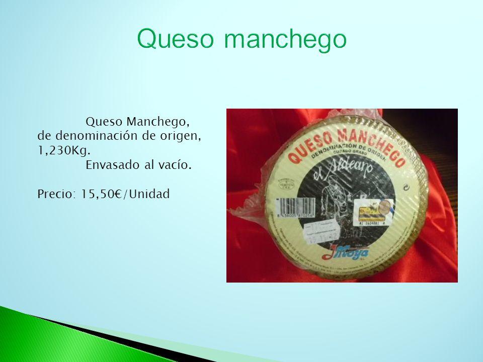 Queso Manchego, de denominación de origen, 1,230Kg. Envasado al vacío. Precio: 15,50/Unidad
