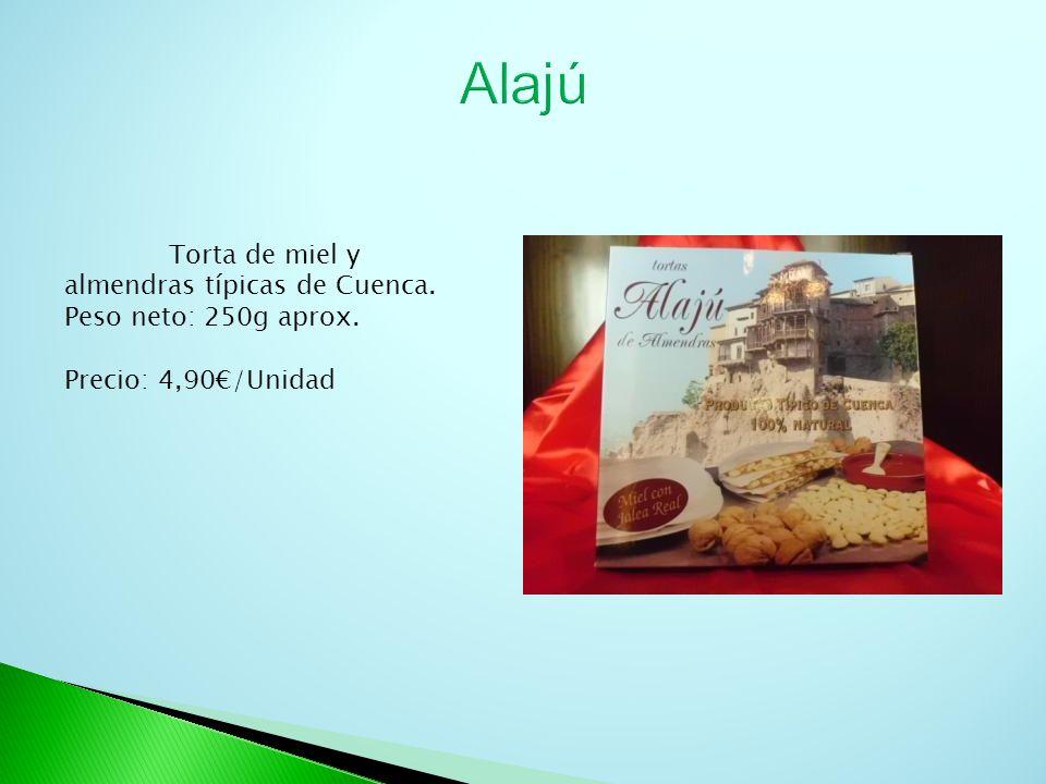 Torta de miel y almendras típicas de Cuenca. Peso neto: 250g aprox. Precio: 4,90/Unidad