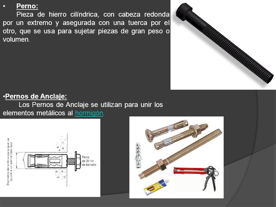 Perno: Pieza de hierro cilíndrica, con cabeza redonda por un extremo y asegurada con una tuerca por el otro, que se usa para sujetar piezas de gran pe