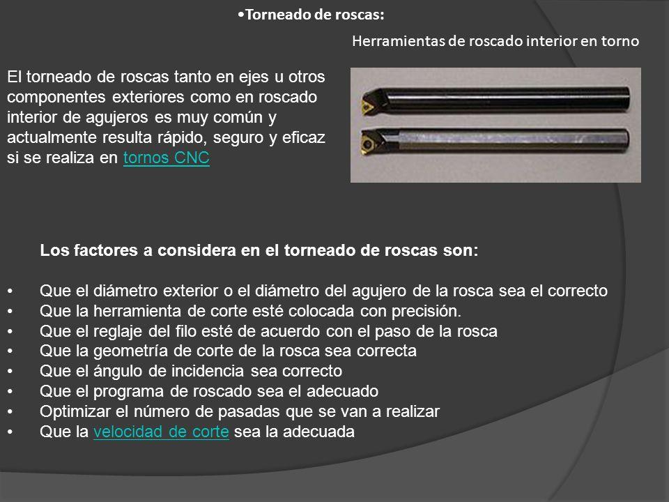 El torneado de roscas tanto en ejes u otros componentes exteriores como en roscado interior de agujeros es muy común y actualmente resulta rápido, seg