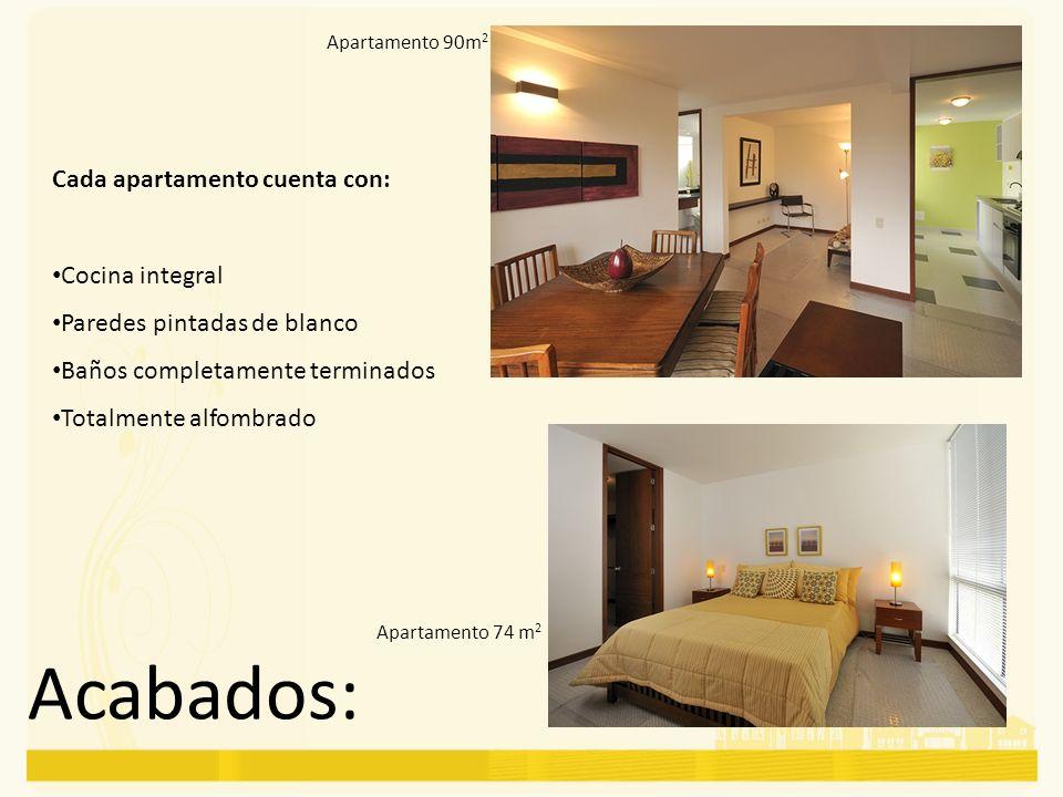 Acabados: Cada apartamento cuenta con: Cocina integral Paredes pintadas de blanco Baños completamente terminados Totalmente alfombrado Apartamento 90m