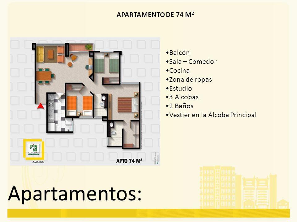 Apartamentos: APARTAMENTO DE 74 M 2 Balcón Sala – Comedor Cocina Zona de ropas Estudio 3 Alcobas 2 Baños Vestier en la Alcoba Principal