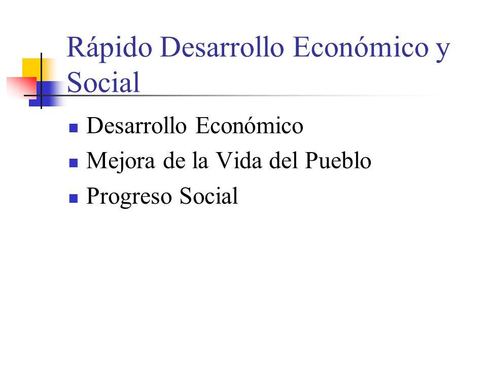 Rápido Desarrollo Económico y Social Desarrollo Económico Mejora de la Vida del Pueblo Progreso Social