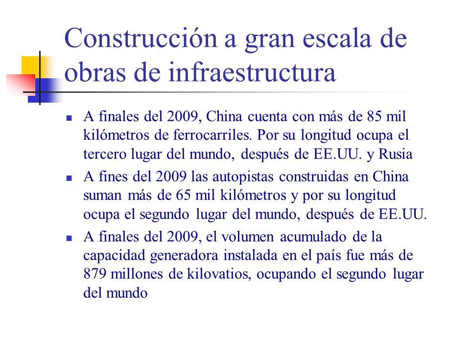 Construcción a gran escala de obras de infraestructura A finales del 2009, China cuenta con más de 85 mil kilómetros de ferrocarriles.