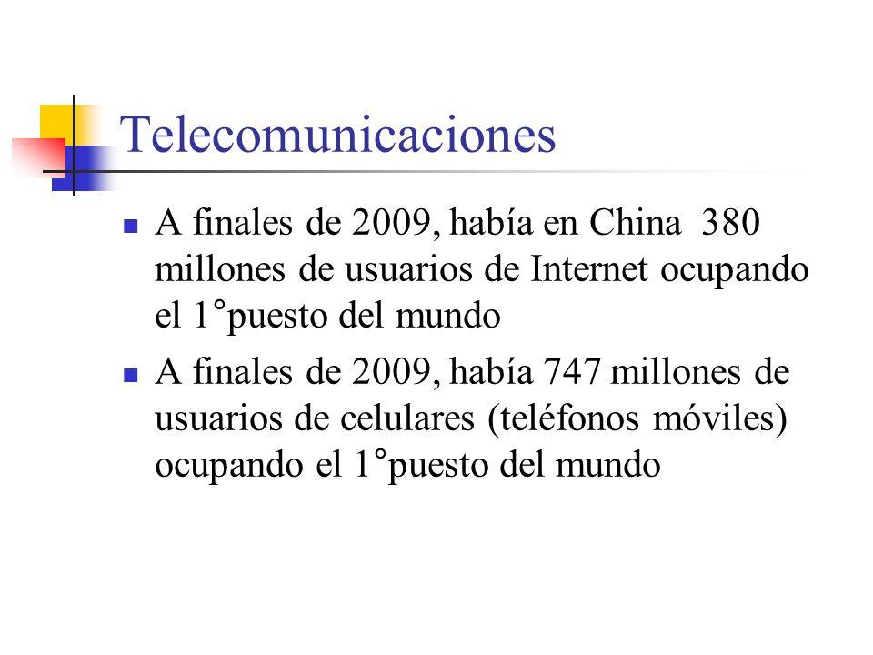 Telecomunicaciones A finales de 2009, había en China 380 millones de usuarios de Internet ocupando el 1°puesto del mundo A finales de 2009, había 747 millones de usuarios de celulares (teléfonos móviles) ocupando el 1°puesto del mundo