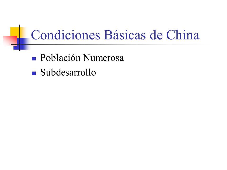 Condiciones Básicas de China Población Numerosa Subdesarrollo